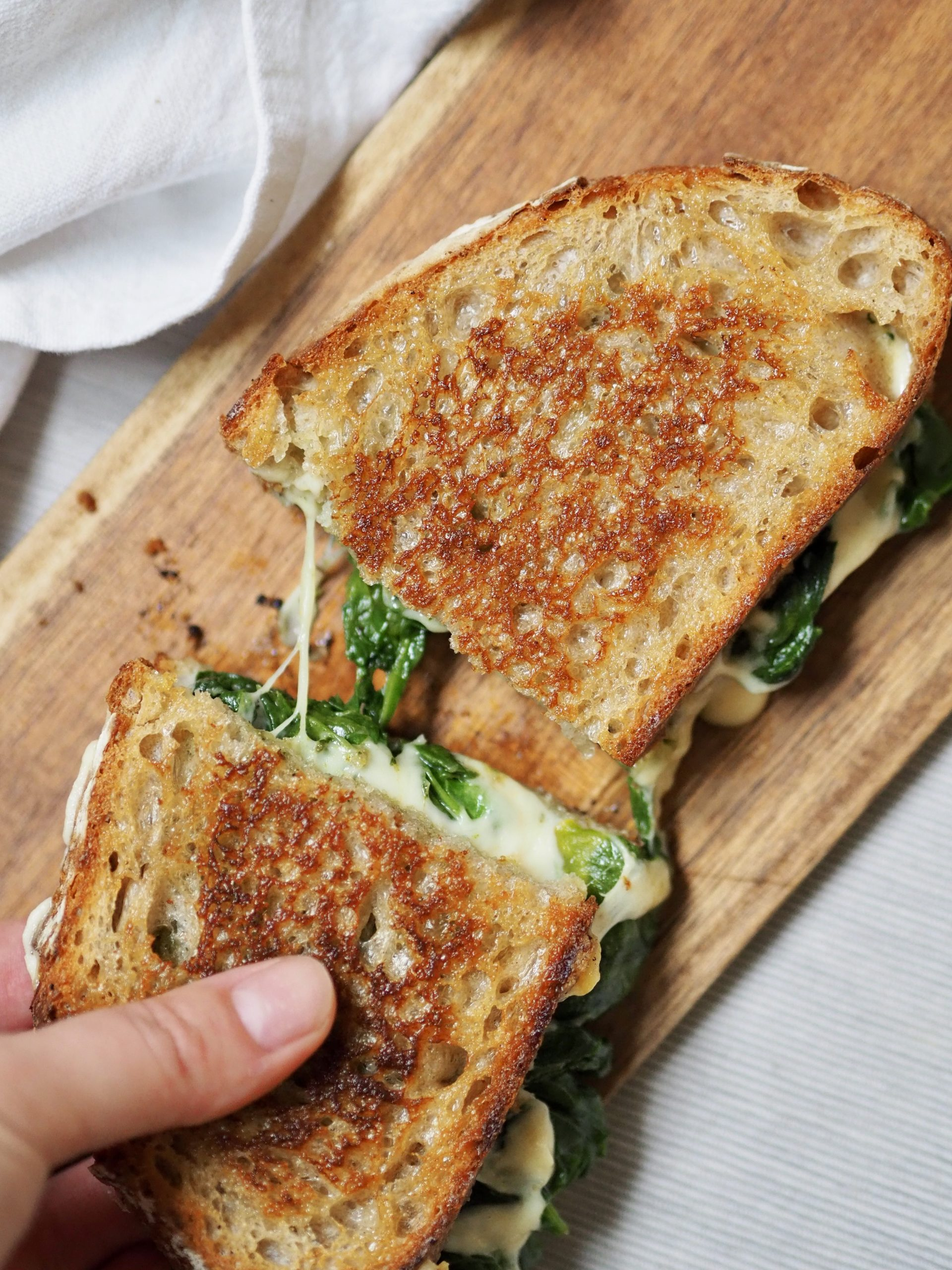 Grilled cheese épinards et pesto
